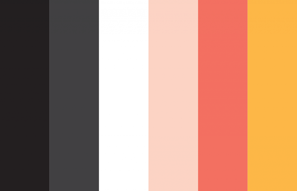 type poster colour palette. black, almost black, white, two contrasting shades of pink and an orange-yellow.