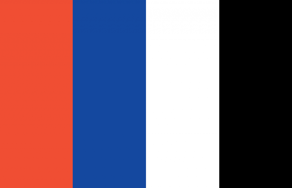 colour palette for choice travel co. red, blue, white, and black.