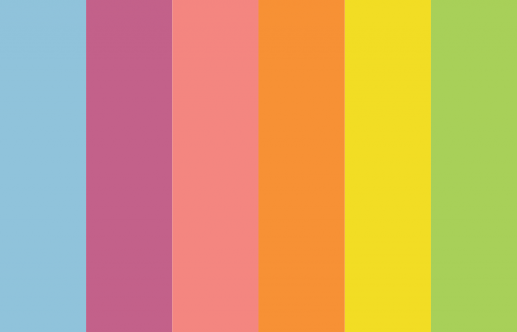 grow wild colour palette. blue, purple, pink, orange, yellow and green.